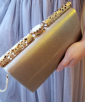 Agnes rose gold metallic clutch