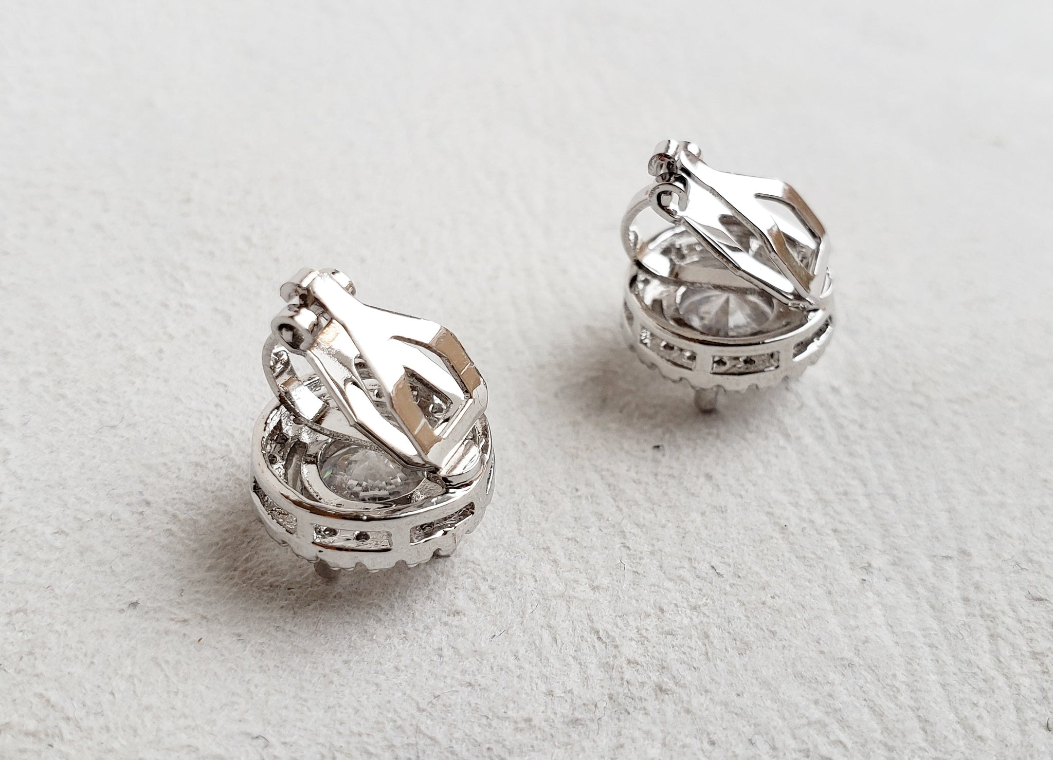 Pavé Round Clip On Earrings