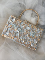 Kara crystal and gold-embellished  box clutch