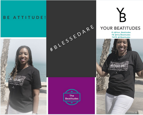 Laqueisa smiling in a Blessed are black color tshirt