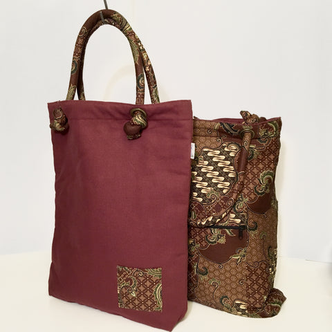 Cotton Batik & Canvas Project Bag - Reversible