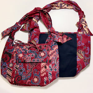 Cotton Batik and Twill Shopping Bag - Reversible