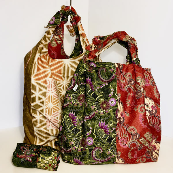 Cotton Batik 2 Tone Shopping Bag - Reversible