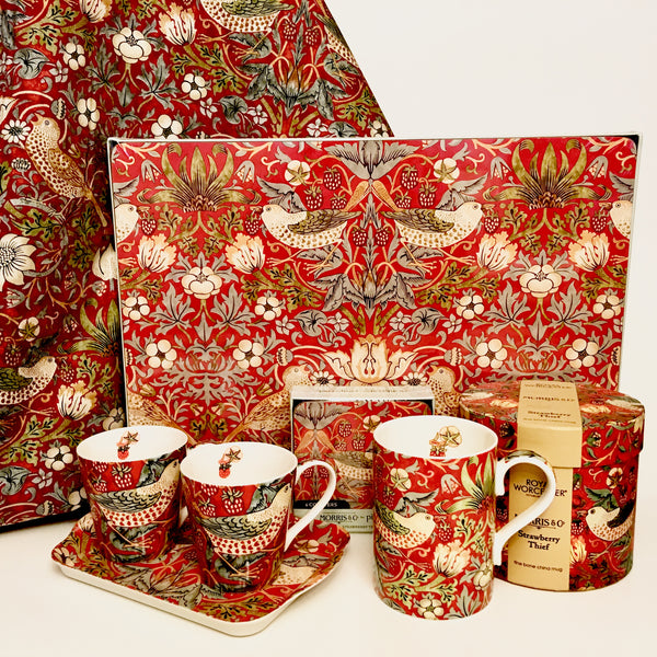 William Morris Coasters - Strawberry Thief - Red - Set of 6