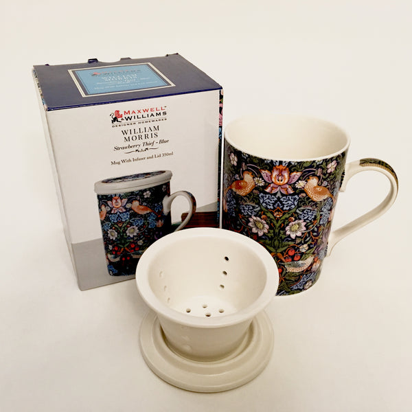 William Morris Mug With Infuser - Strawberry Thief - Blue