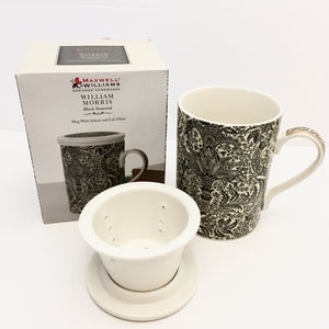 William Morris Mug With Infuser - Black Seaweed