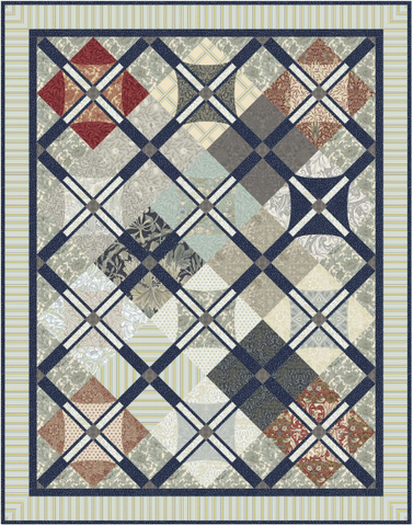 "Mr. Morris - Mineral - Quilt Top Kit - 51"" x 65"" - Intermediate"