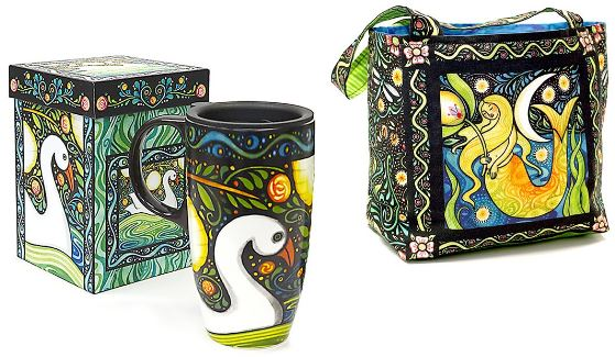Oceanica Travel Mug with Lunch-Tote Panel by Julie Paschkis