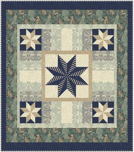 "Standen Stars Teal Quilt  - Quilt Top Kit - 72"" x 82"" - Intermediate"