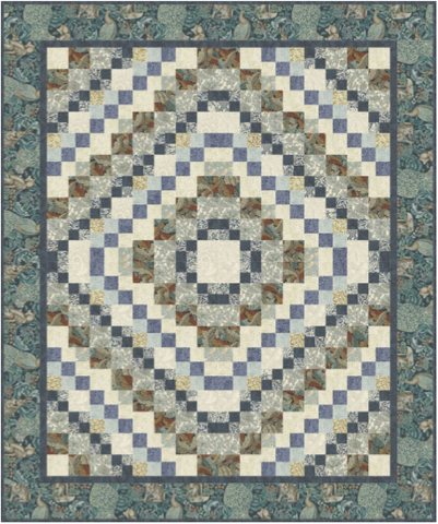 "Town Square - Teal - Quilt Top Kit - 60"" x 72"" - Experienced Beginner"