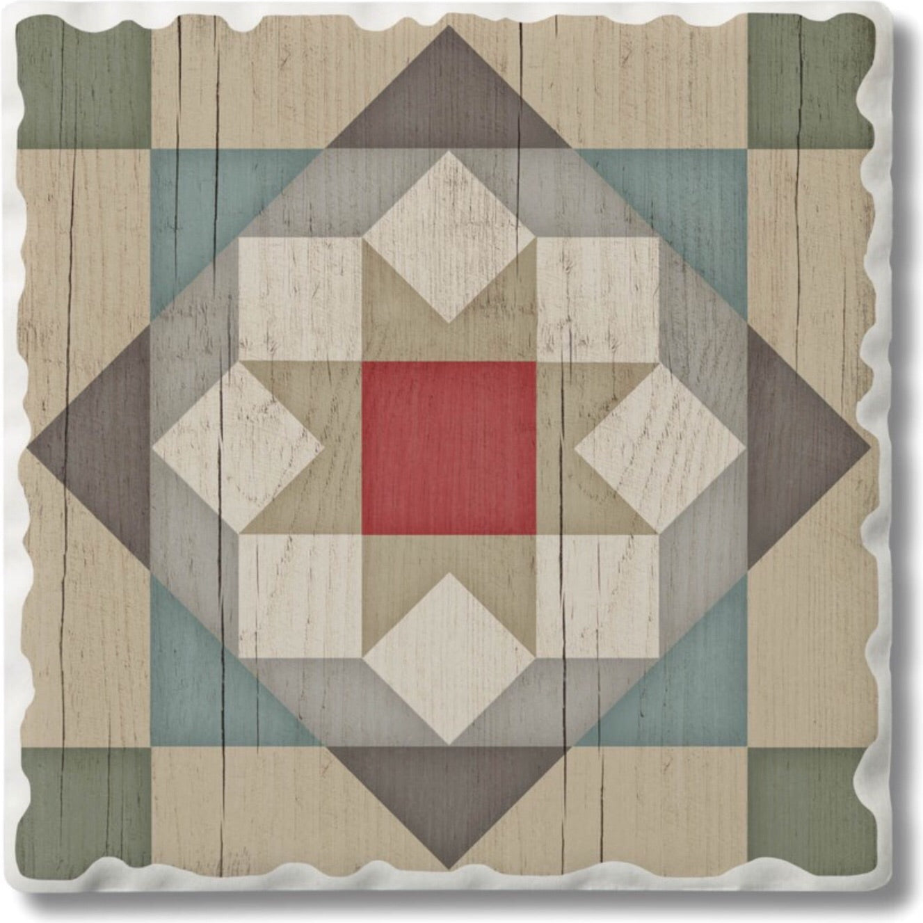Absorbent Stone Coaster - Barn Star