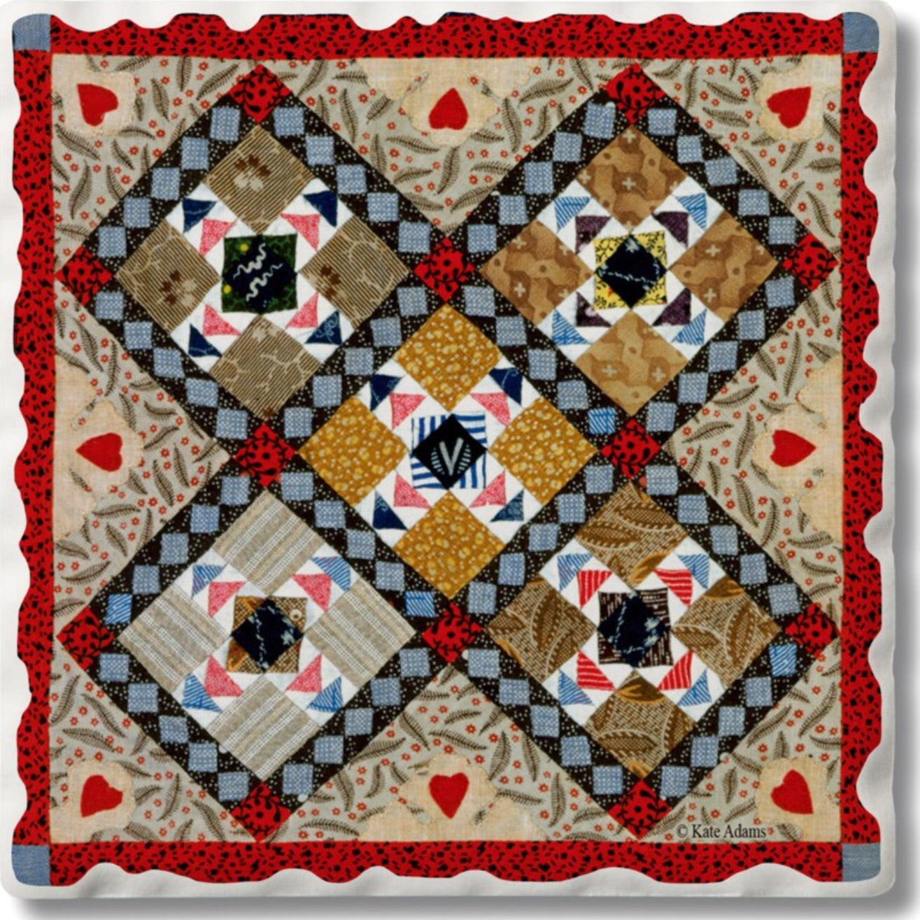 Absorbent Stone Coaster - Quilt 12