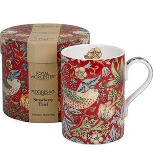 William Morris Mug in Gift Box -  Strawberry Thief - Red