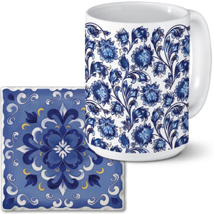 Absorbent Stone Coaster and Mug Set - Shades if Blue