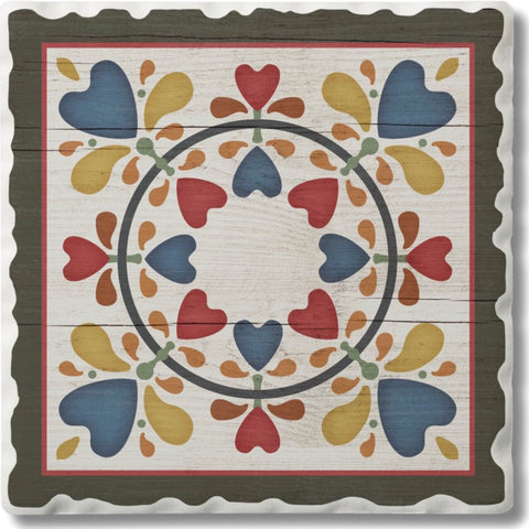 Absorbent Stone Coaster - Hearts & Flowers