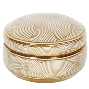 Gold & White Ceramic Dish