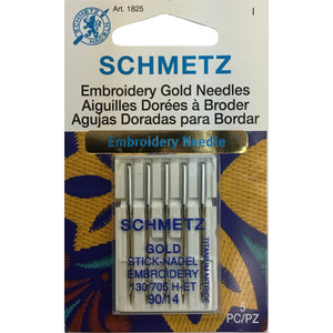 Embroidery Gold Sewing Machine Needles - 90/14