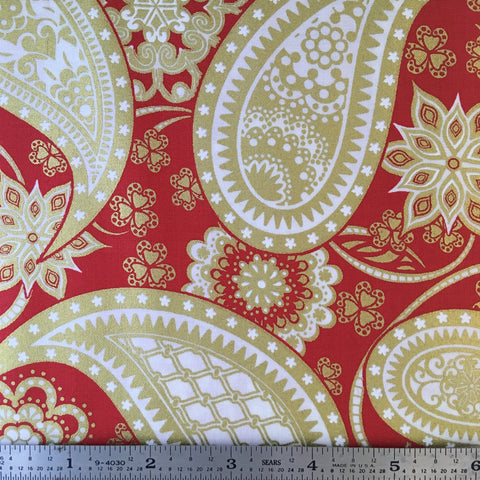 Jubilee Metallic - Paisley  - Red