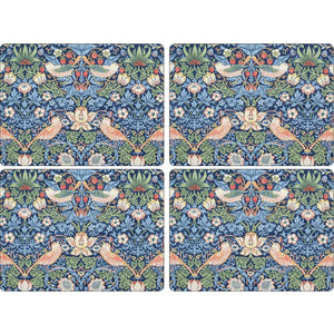 Morris & Co. Placemats -  Strawberry Thief - Blue - Set of 4