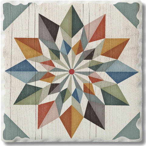 Absorbent Stone Coaster - Hex Star