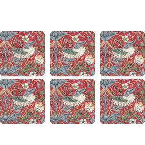 Morris & Co. Coasters - Strawberry Thief - Red - Set of 6