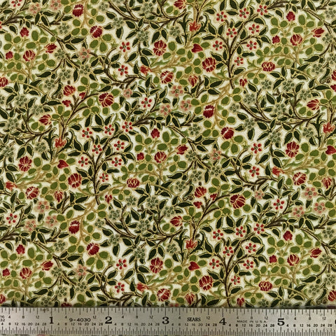 Morris Holiday Metallic - Small Flower - Linen