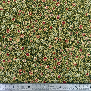 Morris Holiday Metallic - Small Flower - Pine