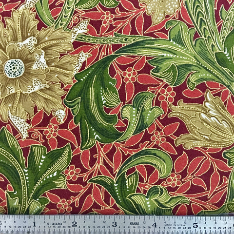 Morris Holiday Metallic - Flower - Crimson