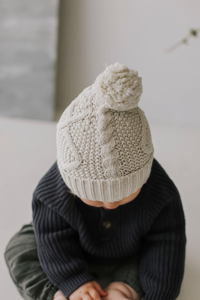 Cable Knit Hat - Oatmeal Marle