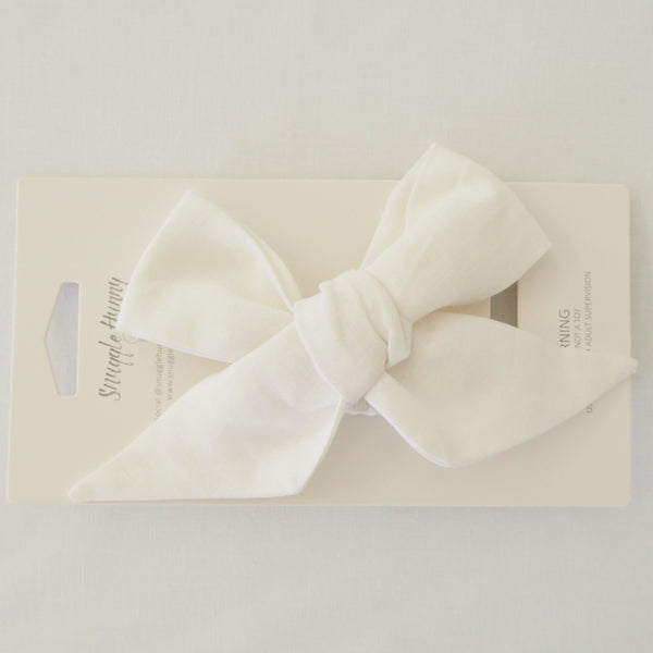 Linen Bow Pre-Tied Headband Wrap - White