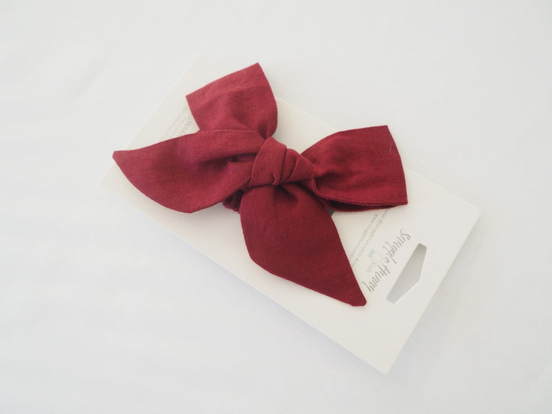 Linen Bow Pre-Tied Headband Wrap - Burgundy