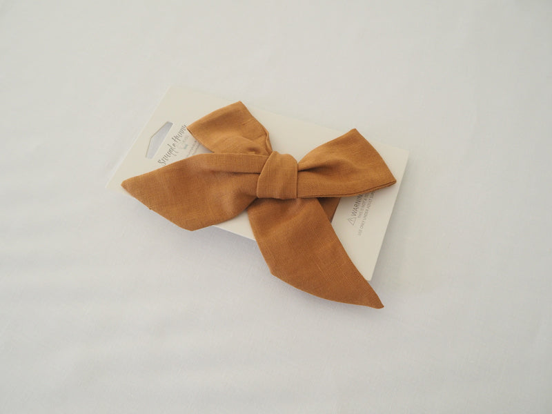 Linen Bow Pre-Tied Headband Wrap - Mustard