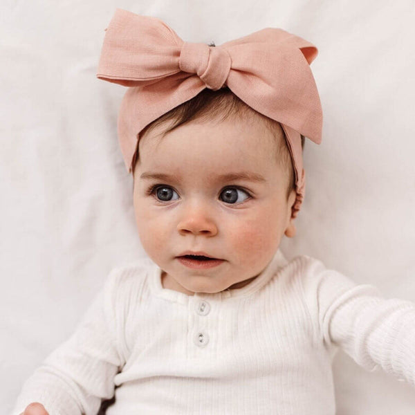 Linen Bow Pre-Tied Headband Wrap - Rust