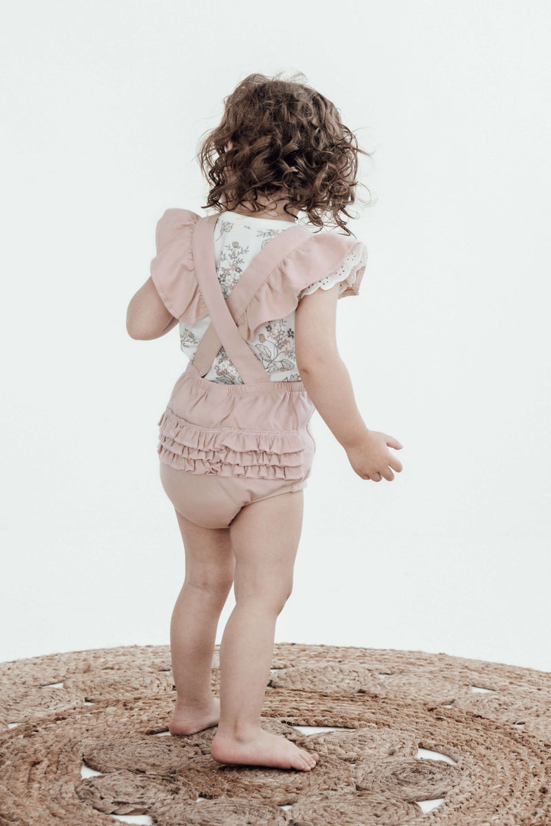 Floral Embroidered Playsuit - Rose Dust