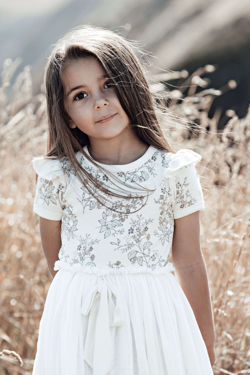 Summer Floral Tutu Dress - White Alyssum