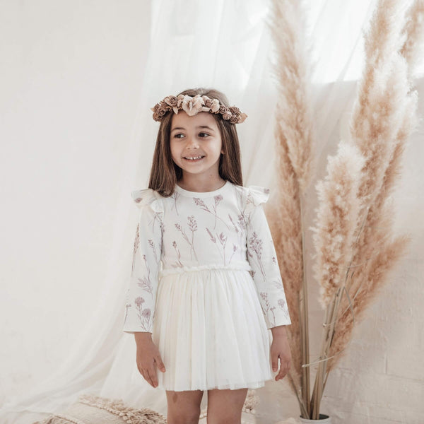 Wildflower Tutu Dress - Cloud Dancer