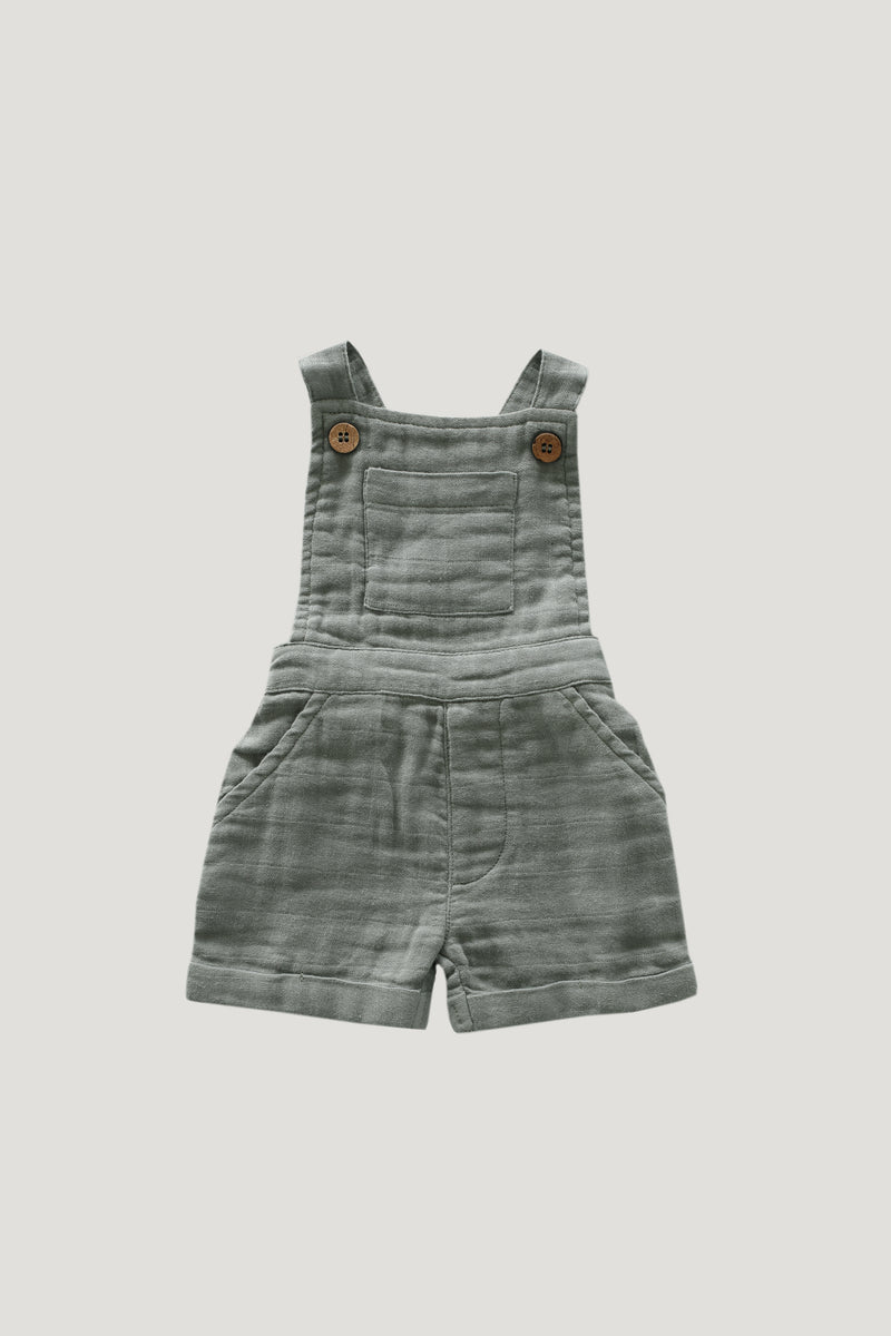 Organic Cotton Muslin Hugo Overalls - Willow