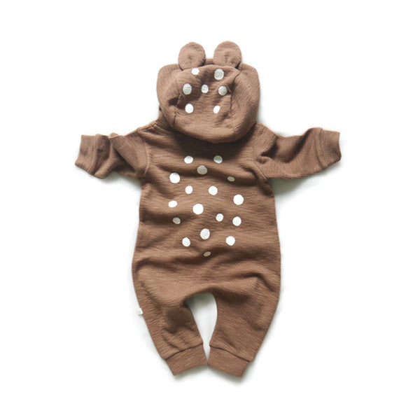 Lala Bambi kids Brown hooded Romper.