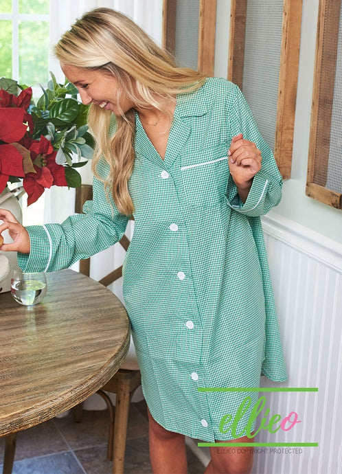 Green Gingham Night Shirt