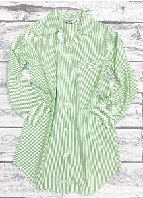Womens Green Seersucker Night Shirt (XXL ONLY)