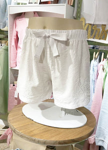 Womens White Seersucker Lounge Shorts (ALL SIZES AVAILABLE)