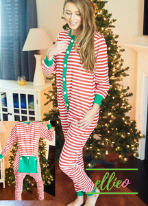 Adult Holly Jolly One-Piece Jammies - Red Stripe (XXS and XS ONLY)