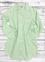 Load image into Gallery viewer, Womens Green Seersucker Night Shirt