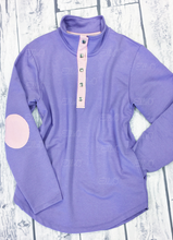 Load image into Gallery viewer, Womens Miller Pullover Purple with Pink Seersucker