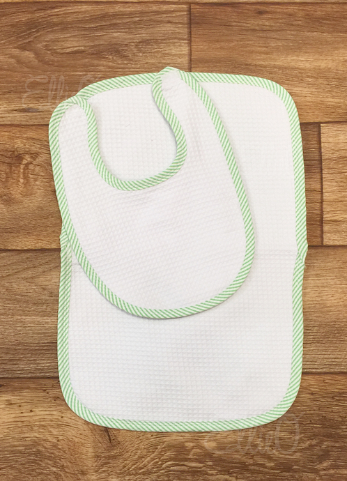 Seersucker Burp Cloth and Bib Set- Green (BEING DISCONTINUED - WHILE SUPPLIES LAST)