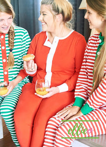 Adult Holly Jolly One-Piece Jammies - Solid Red (XXS/XS/S/M/L/XL ONLY)