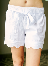 Load image into Gallery viewer, Womens White Seersucker Scallop Lounge Shorts