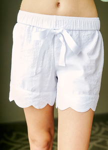 Womens White Seersucker Scallop Lounge Shorts