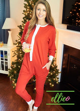 Load image into Gallery viewer, Adult Holly Jolly One-Piece Jammies - Solid Red (XXS/XS/S/M/L/XL ONLY)
