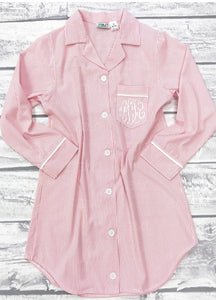 Womens Pink Seersucker Night Shirt – EllieO a4ddc95e6260